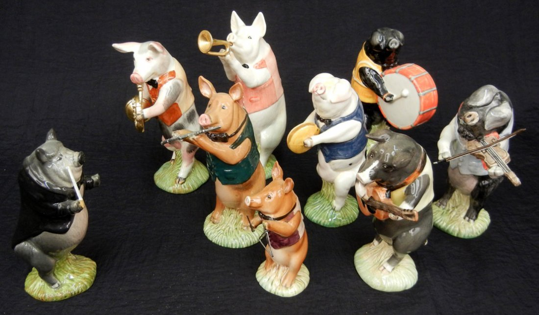59: Beswick Pig Promenade Orchestra, nine pieces, inclu
