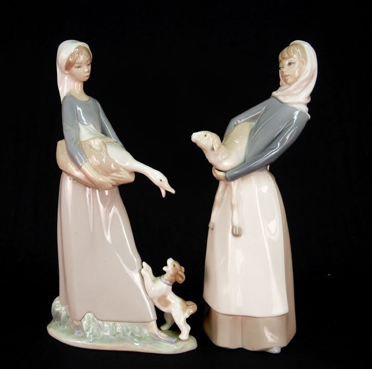 "72: Two Lladro figurines ""Girl with Goose and Dog"" #486"