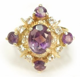Gold Amethyst And Diamond Ring, 14k Yellow Gold Ri