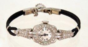 Lady's Hamilton Art Deco White Gold And Diamond Wr