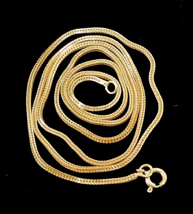 "285: Gold chain, 18k gold box link chain, 24"" long, 1/1"