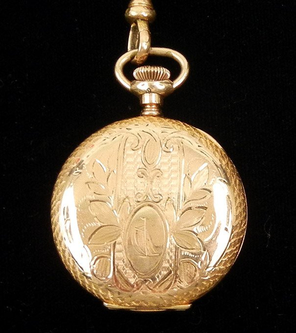 287: Lady's Hampden gold filled pocket watch, engraved