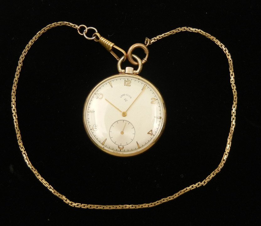 289: Lord Elgin gold filled pocket watch, 21 jewel move