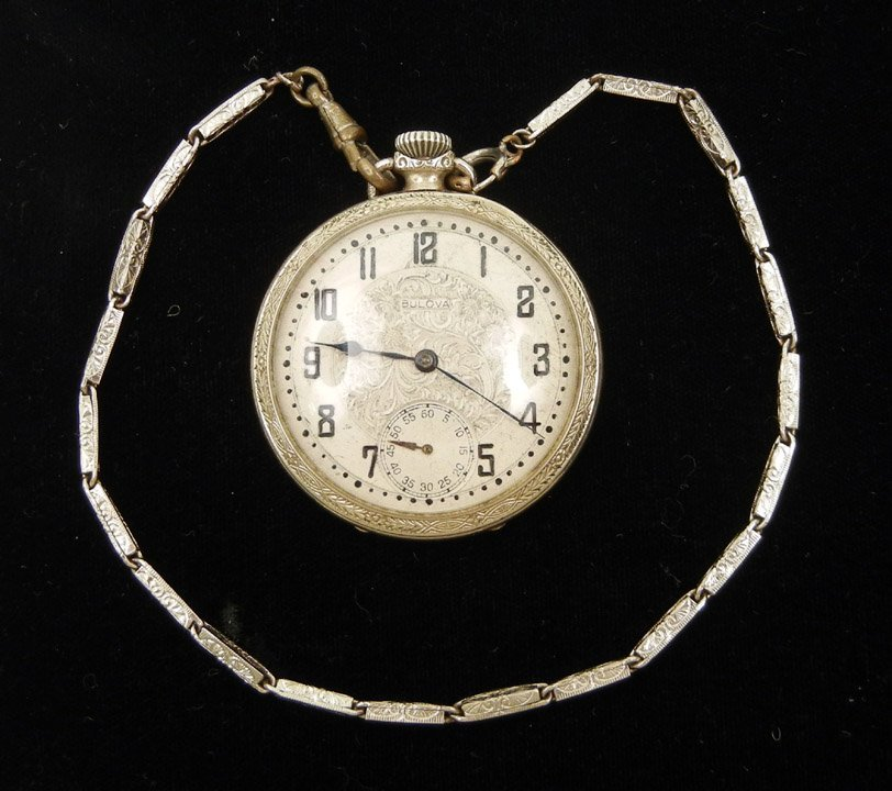 290: Bulova white gold filled pocket watch, open face,