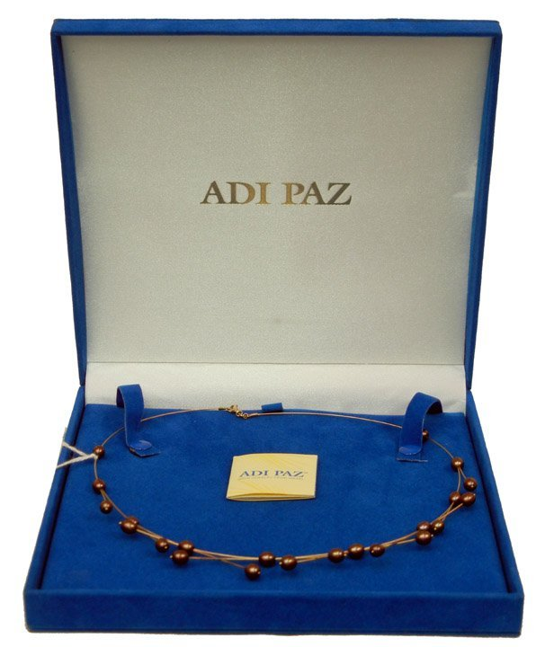296: Adi Paz gold and pearl necklace, gold wire with bl