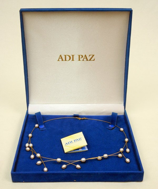 297: Adi Paz gold and pearl necklace, gold wire with wh