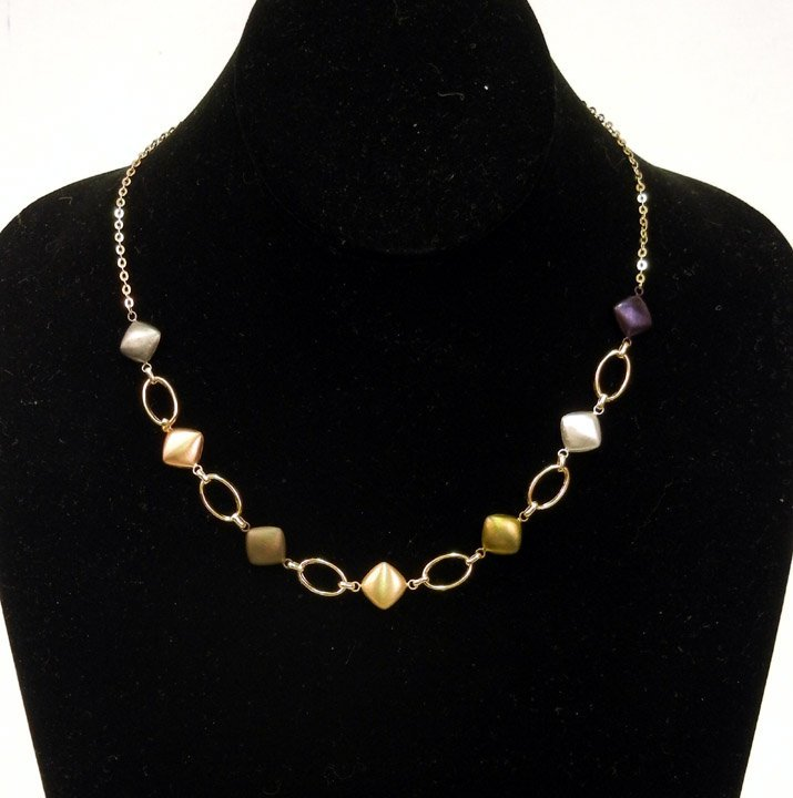 300: Multicolor gold necklace, 14k gold alternating sta
