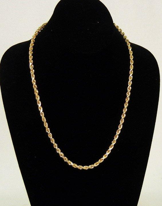 73334715c1801 305: Gold rope chain, 14k gold diamond cut rope chain m