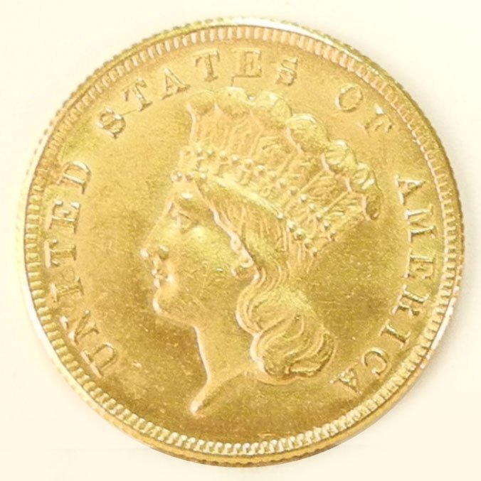 384: 1855 $3.00 U.S. gold piece, Indian princess