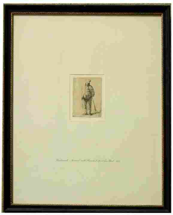 """Van Rijn Rembrandt etching on paper, 4th state, """""""
