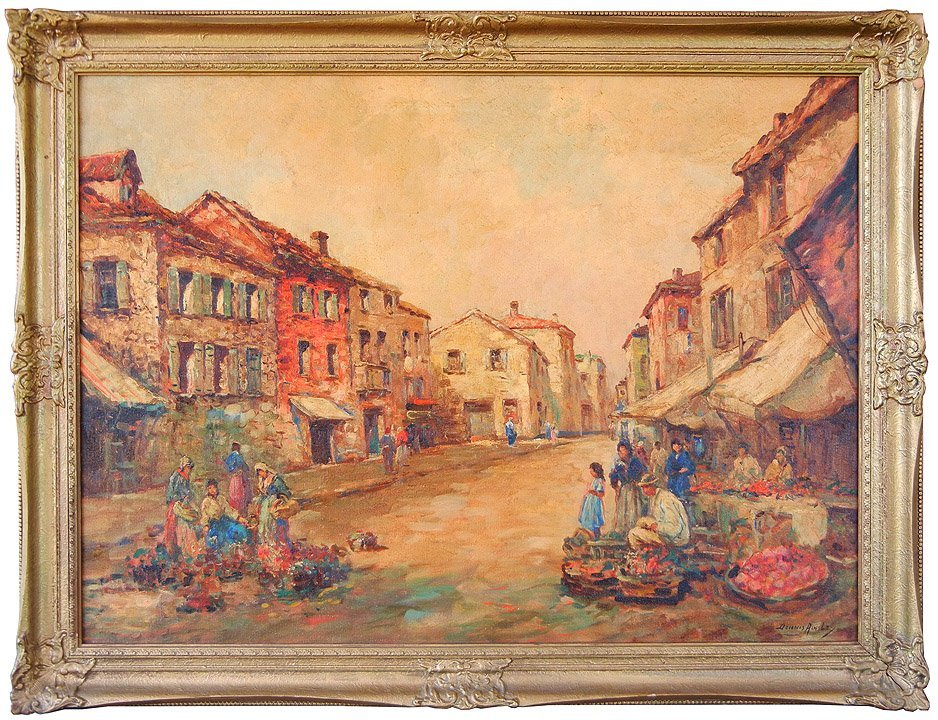 493: Dennis Ainsley oil on canvas, village street scene
