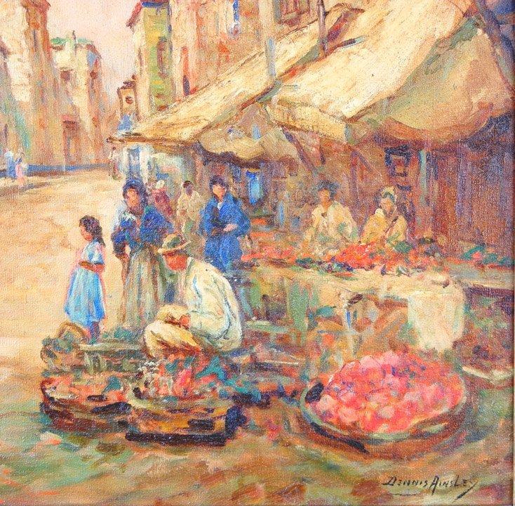 493: Dennis Ainsley oil on canvas, village street scene - 2
