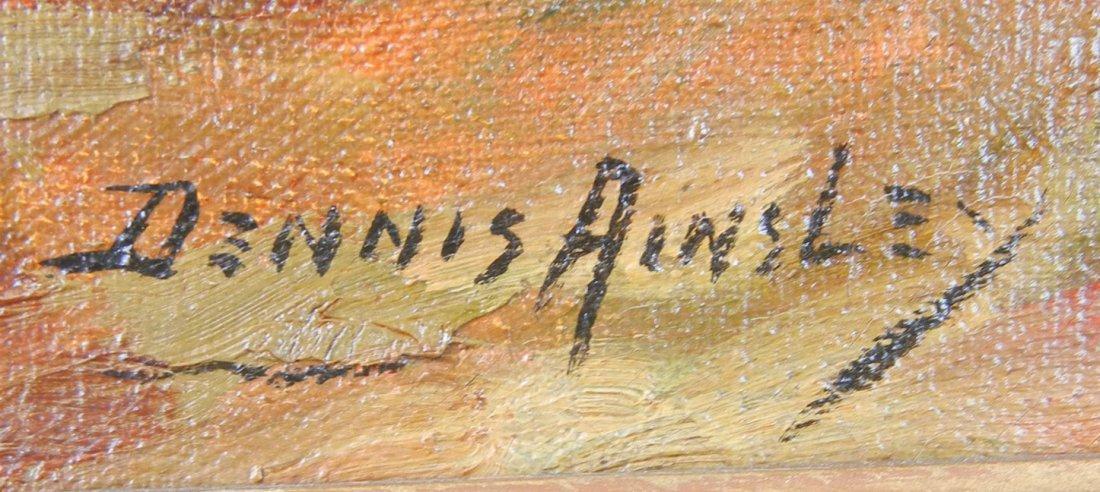 493: Dennis Ainsley oil on canvas, village street scene - 3