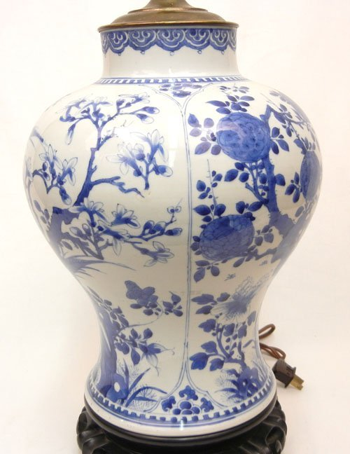 507: Chinese Export porcelain lamp, blue decoration, on - 3
