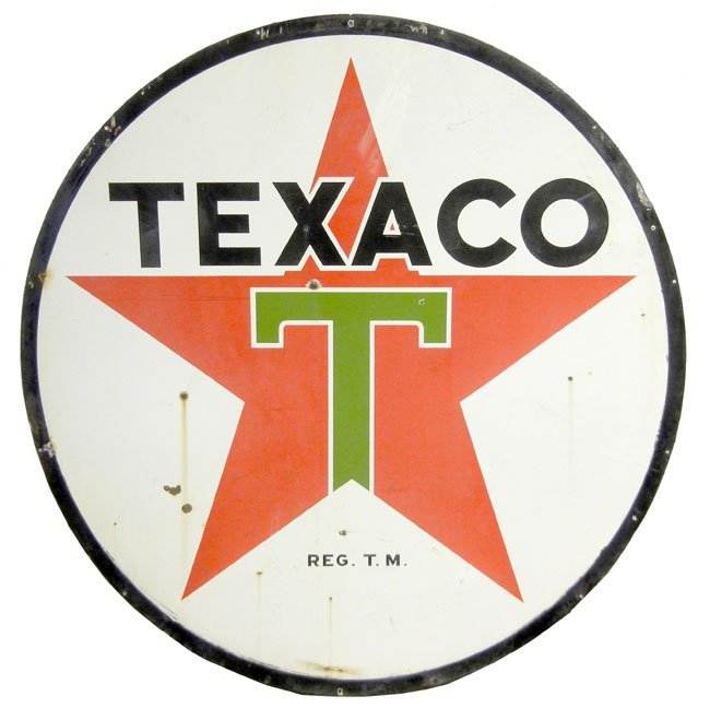 "596: Two sided porcelain 71"" Texaco sign"