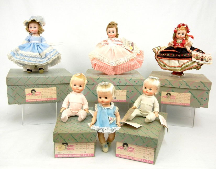 4: Grouping of six Madame Alexander dolls, five with or
