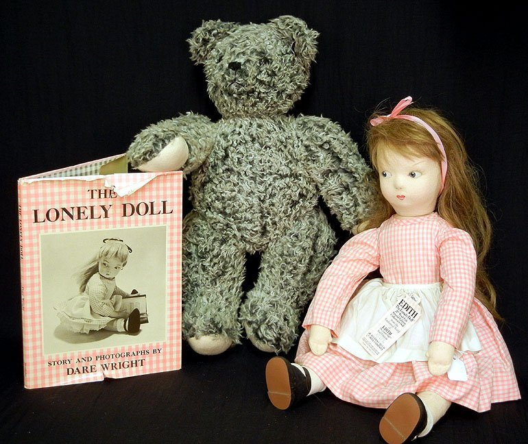 """14: Edith the Lonely Doll grouping, including 21"""" wool-"""
