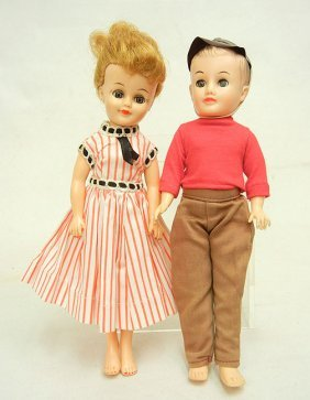 1950s Vogue Jan And Jeff Dolls, With Tagged Outfits