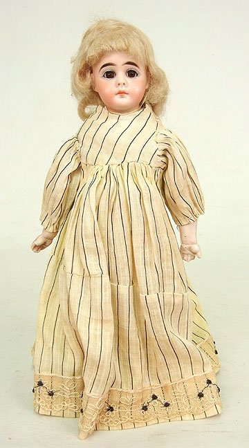 54: Belton type bisque shoulder head doll, cloth body,
