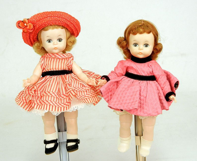 "58: Two dolls, Alexanderkins 8"", all original (except h"
