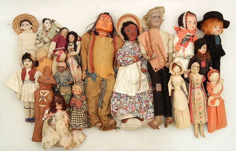 59: Grouping of dolls, including cloth dolls, compositi