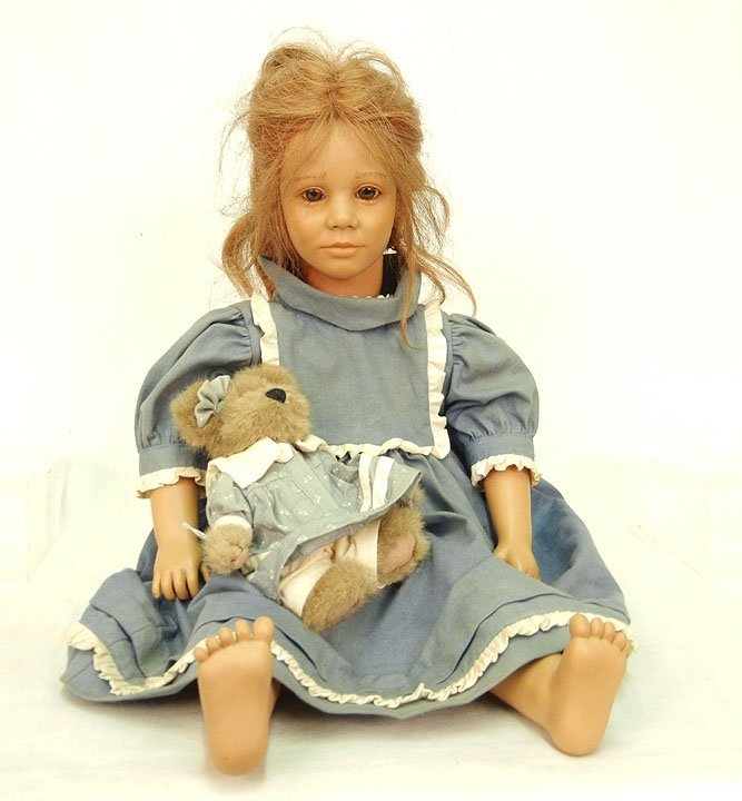 "61: Annette Himstedt doll ""Toni"" with teddy bear, brown"