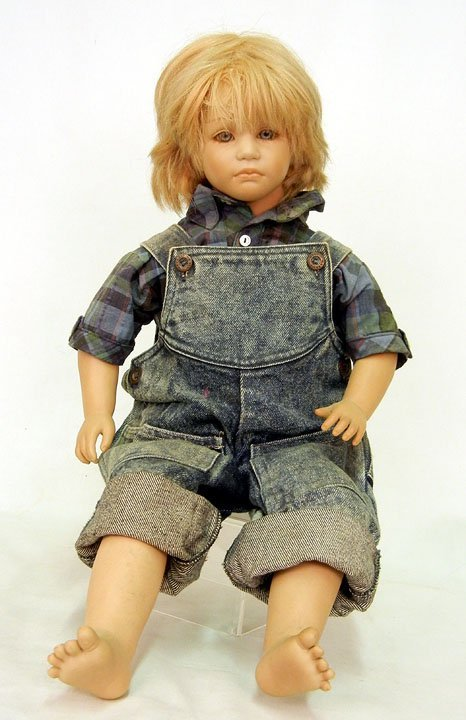 "62: Annette Himstedt doll ""Timi"", blue eys, closed mout"