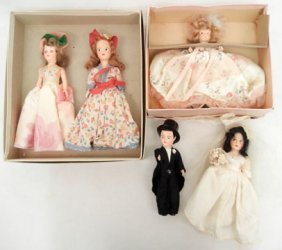 Lot Of Five Dolls, Composition And Hard Plastic,