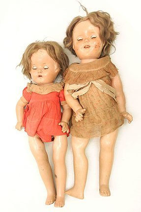 18B: Two composition dolls, one is marked Ideal,