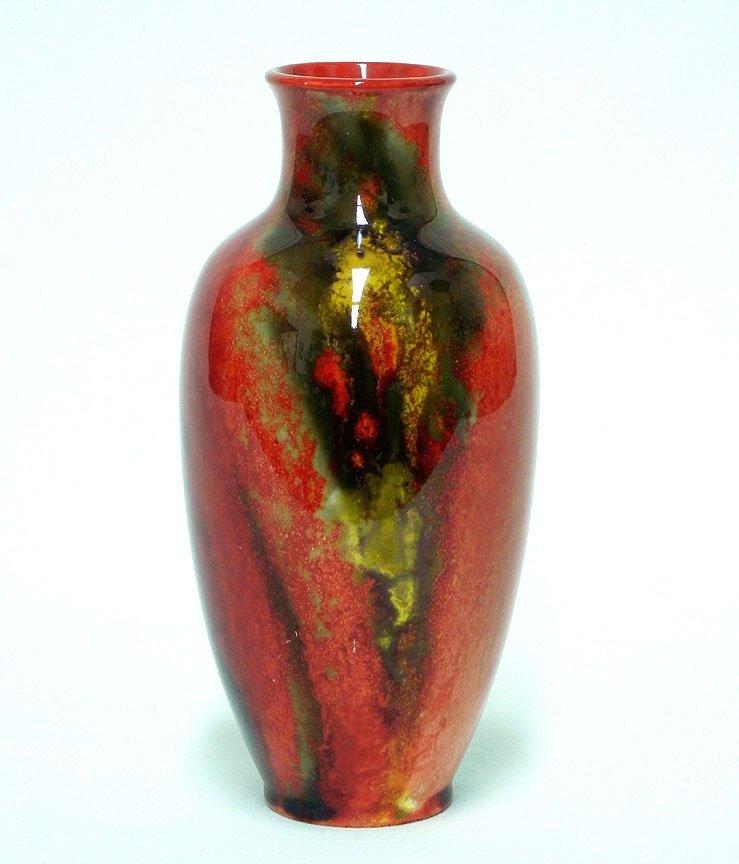 """1: Royal Doulton """"Flambe"""" bud vase, underglaze mark on"""