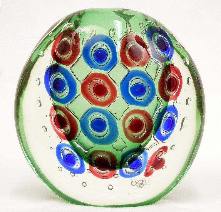 """7: Oggetti Italian art glass vase, signed on bottom """"L."""