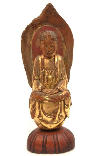 9: Chinese carved wooden Bodhisattva, gold leaf over wo