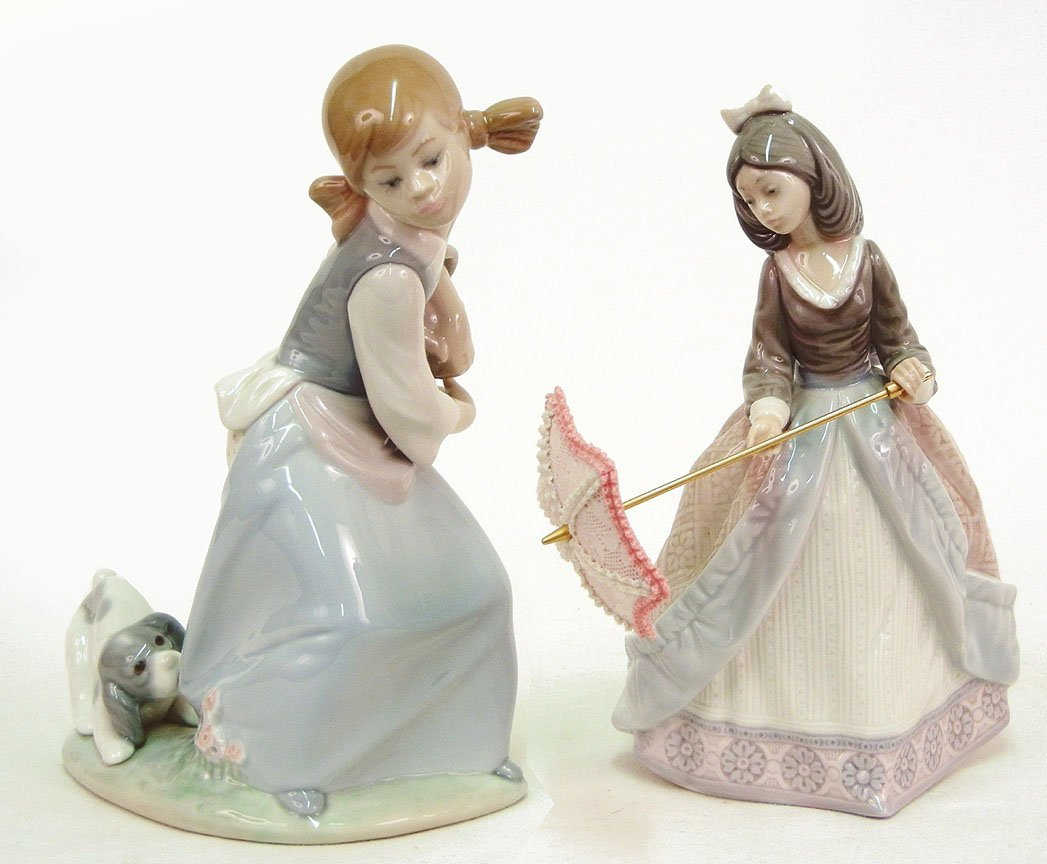 """11: Two Lladro figurines """"Dog"""" No. 4982, 7 3/4"""" high, a"""