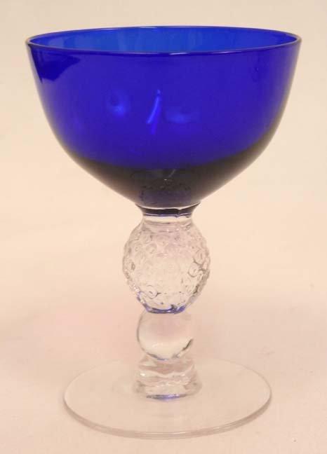 """133: Set of Morgantown """"Golf Ball"""" cobalt blue stemware - 10"""