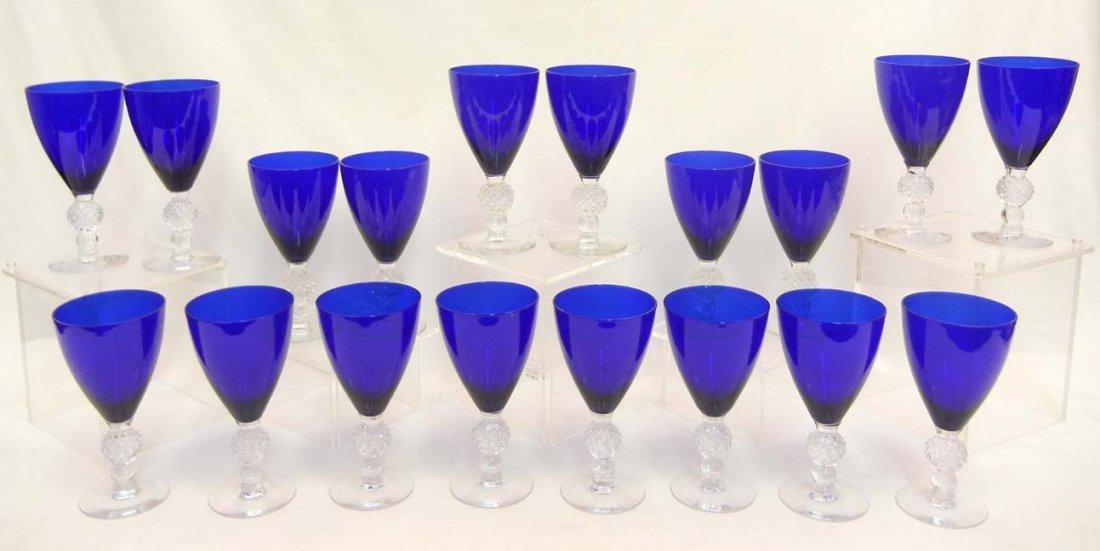 """133: Set of Morgantown """"Golf Ball"""" cobalt blue stemware - 3"""