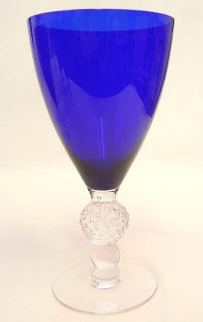 """133: Set of Morgantown """"Golf Ball"""" cobalt blue stemware - 4"""