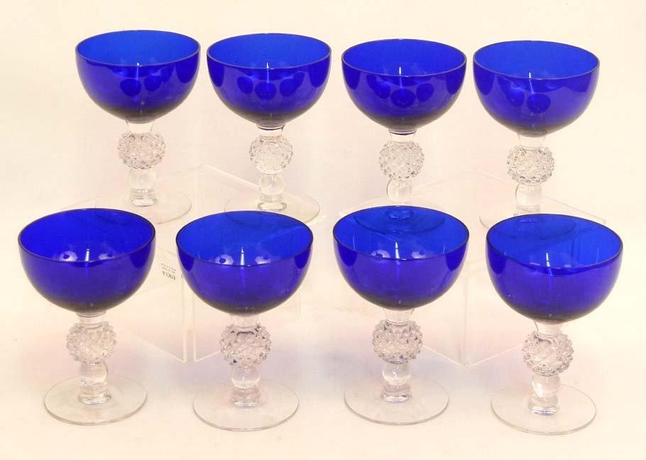 """133: Set of Morgantown """"Golf Ball"""" cobalt blue stemware - 5"""