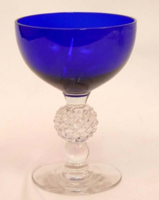 """133: Set of Morgantown """"Golf Ball"""" cobalt blue stemware - 6"""
