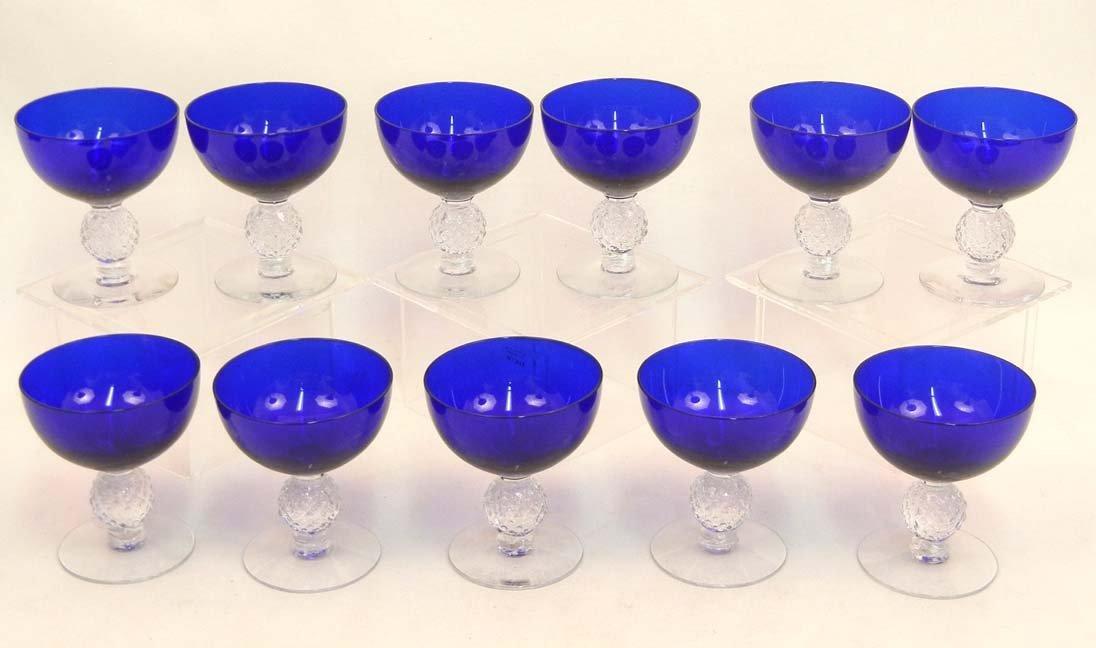 """133: Set of Morgantown """"Golf Ball"""" cobalt blue stemware - 7"""