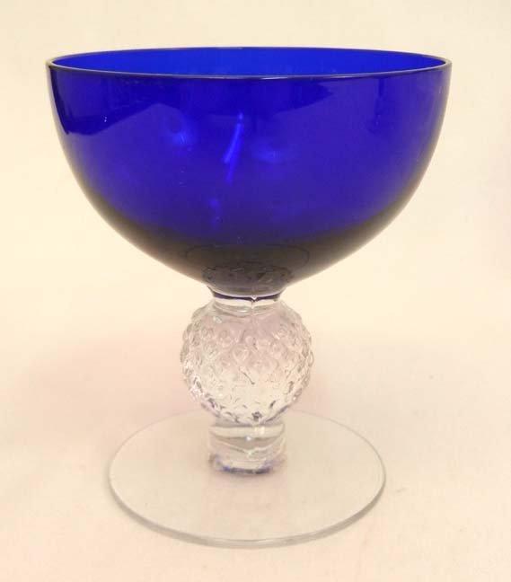 """133: Set of Morgantown """"Golf Ball"""" cobalt blue stemware - 8"""