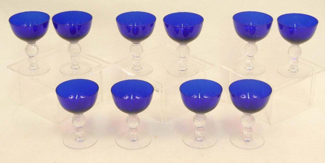 """133: Set of Morgantown """"Golf Ball"""" cobalt blue stemware - 9"""
