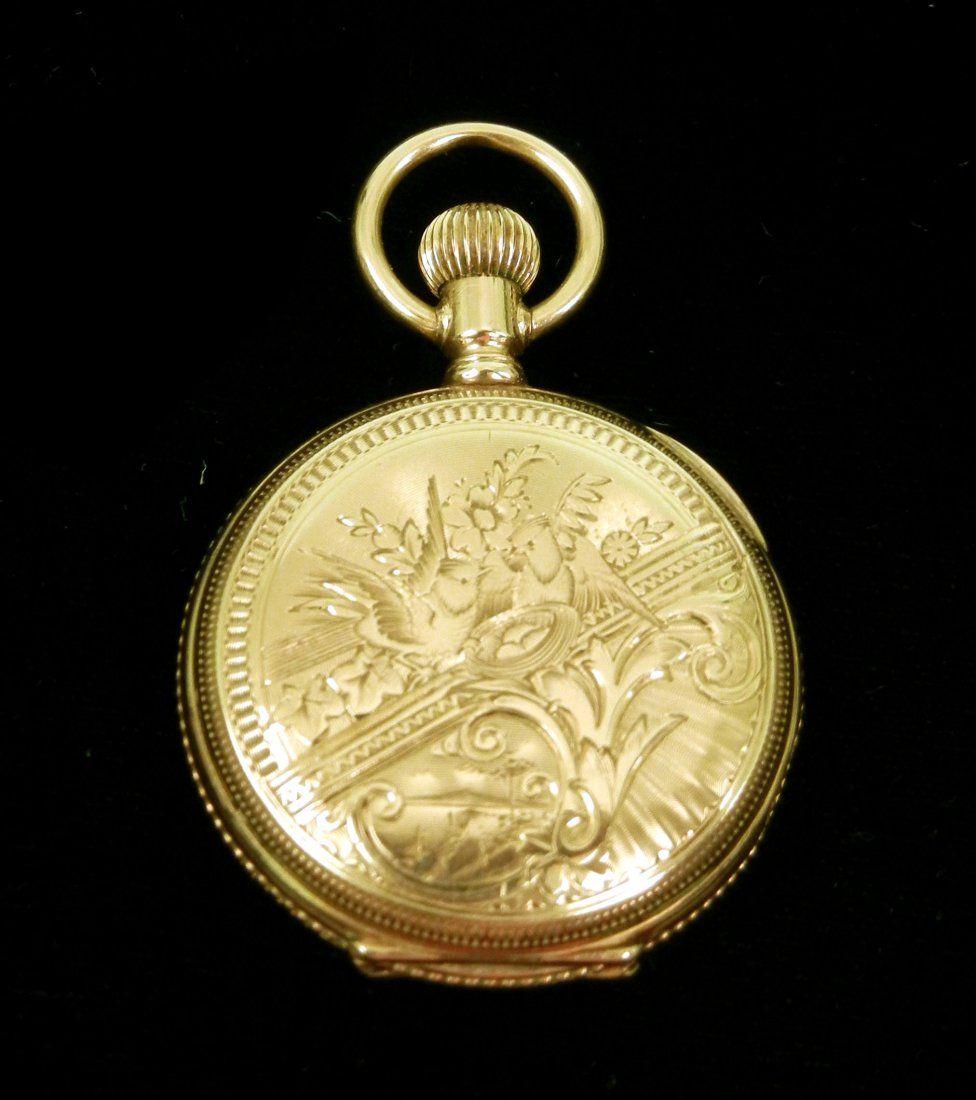 185: Lady's Elgin gold pocket watch, 14K gold engraved