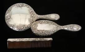 295: Gorham three piece sterling silver dresser set, re