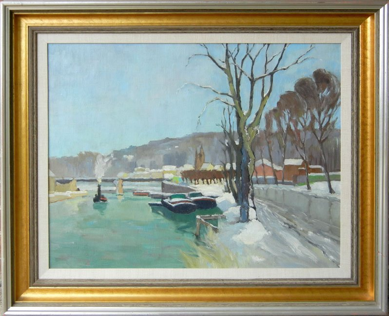 """399: Georges Robin oil on canvas """"Hiver A Bougival"""", si"""