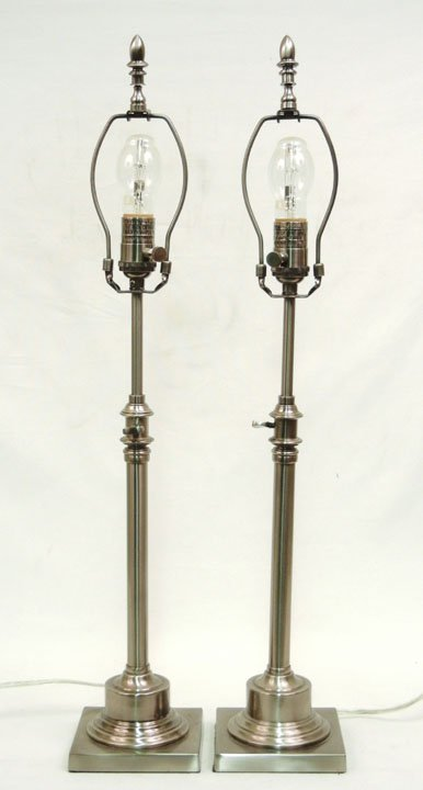 471: Pair of Restoration Hardware table lamps, brushed