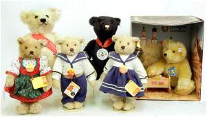 124 Seven Steiff bears including Mother and baby in c