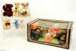 125: Nine Steiff bears, including one boxed set of thre