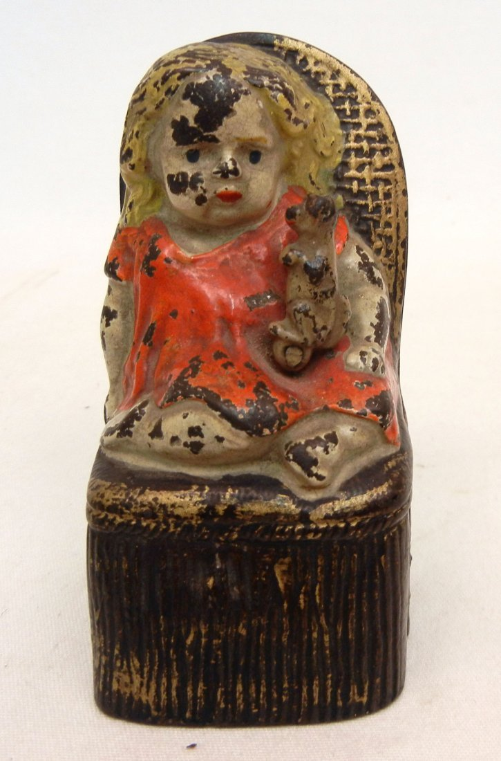 143: Cast iron Girl in Victorian Chair mechanical bank,