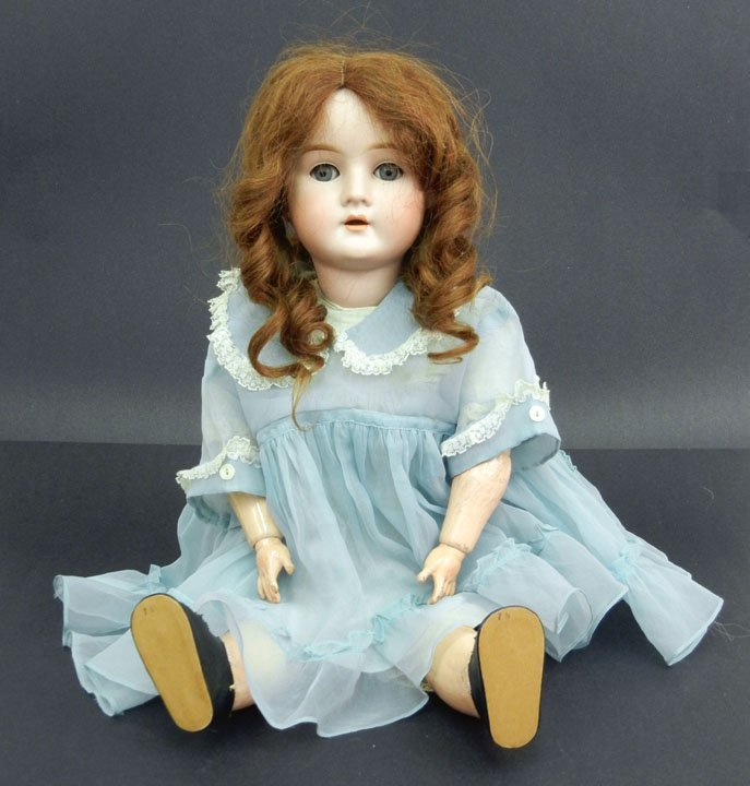"""18A: German bisque head doll """"Pansy IV"""", 22"""", blue slee"""