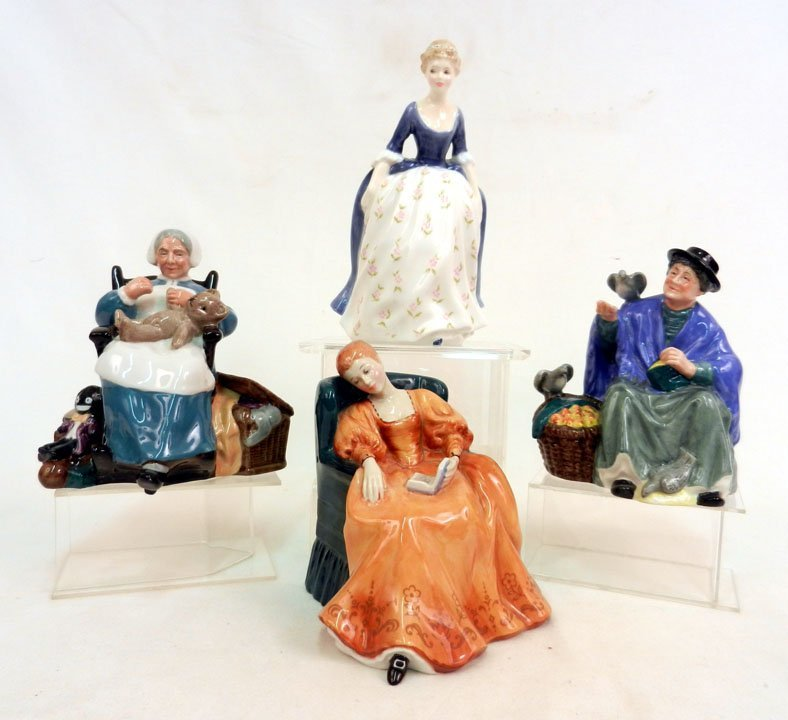 "6: Four Royal Doulton figurines, including ""Romance, HN"